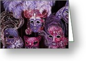 Venezia Pastels Greeting Cards - Venetian Masks Greeting Card by Anastasiya Malakhova
