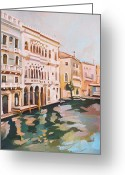 Crayons Greeting Cards - Venetian Palaces Greeting Card by Filip Mihail