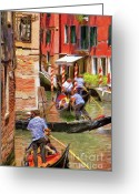 Gondola Digital Art Greeting Cards - Venetian Red Greeting Card by Jeff Kolker