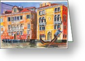 Canal Drawings Greeting Cards - Veneto Gondolier on the Grand Canal in Venice Italy Greeting Card by Dai Wynn