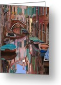 Orange Greeting Cards - Venezia a colori Greeting Card by Guido Borelli