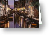 Lights Greeting Cards - Venezia al crepuscolo Greeting Card by Guido Borelli