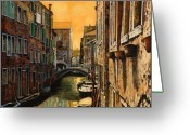 Guido Tapestries Textiles Greeting Cards - Venezia Al Tramonto Greeting Card by Guido Borelli