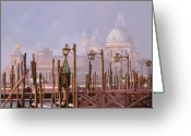 Orange Greeting Cards - Venezia E La Nebbia Greeting Card by Guido Borelli
