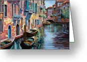 Canal Greeting Cards - Venezia In Rosa Greeting Card by Guido Borelli