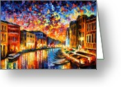 Afremov Greeting Cards - Venice - Grand Canal Greeting Card by Leonid Afremov