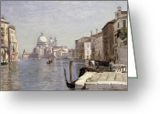 Venetian Architecture Greeting Cards - Venice - View of Campo della Carita looking towards the Dome of the Salute Greeting Card by Jean Baptiste Camille Corot