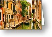 Canal Greeting Cards - Venice Alley Greeting Card by Mick Burkey