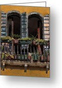 Places In Venice.venecia.venezia.venice Greeting Cards - Venice Balcony Greeting Card by Tom Prendergast