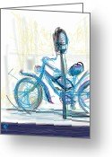 Handlebar Mixed Media Greeting Cards - Venice Bike Greeting Card by Russell Pierce
