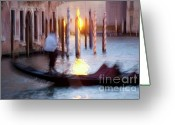 Venice Waterway Greeting Cards - Venice Blue Hour 1 Greeting Card by Heiko Koehrer-Wagner