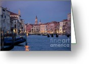 Venice Waterway Greeting Cards - Venice Blue Hour 2 Greeting Card by Heiko Koehrer-Wagner