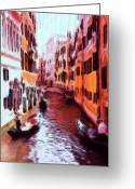 House Pastels Greeting Cards - Venice by Gondola Greeting Card by Stefan Kuhn