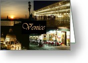 Marks Greeting Cards - Venice by Night Greeting Card by Ellen Henneke