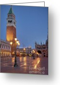 Marcus Greeting Cards - Venice Campanile St. Marks Square Greeting Card by Heiko Koehrer-Wagner