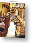 Canals Painting Greeting Cards - Venice Canal Greeting Card by David Lloyd Glover
