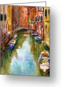 Italy Drawings Greeting Cards - Venice Canal painting Greeting Card by Svetlana Novikova