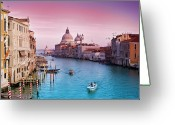 Wooden Greeting Cards - Venice Canale Grande Italy Greeting Card by Dominic Kamp Photography