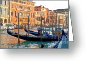 Venetian Architecture Greeting Cards - Venice Canalozzo Illuminated Greeting Card by Heiko Koehrer-Wagner