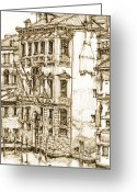Buildings Drawings Greeting Cards - Venice canals detail 1 Greeting Card by Lee-Ann Adendorff