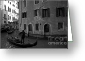 Monochrome Mixed Media Greeting Cards - Venice Canals Greeting Card by Louise Fahy