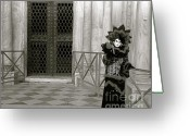 Monochrome Mixed Media Greeting Cards - Venice Carnival IV Greeting Card by Louise Fahy