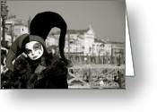 Monochrome Mixed Media Greeting Cards - Venice Carnival VII Greeting Card by Louise Fahy