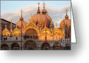 Basilica San Marco Greeting Cards - Venice Church of St. Marks at sunset Greeting Card by Heiko Koehrer-Wagner