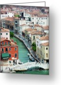 Colorful Buildings Greeting Cards - Venice City of Canals Greeting Card by Julie Palencia