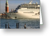Cruise Ships Greeting Cards - Venice Cruise Ship 2 Greeting Card by Andrew Fare