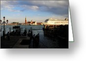 Cruise Ships Greeting Cards - Venice Cruise Ship Greeting Card by Andrew Fare