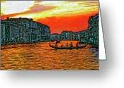 Gondola Digital Art Greeting Cards - Venice Eventide impasto Greeting Card by Steve Harrington