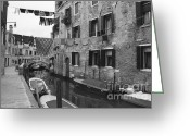 Black And White Pictures Greeting Cards - Venice Greeting Card by Frank Tschakert
