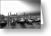 Gray Sky Greeting Cards - Venice gondolas black and white Greeting Card by Rebecca Margraf