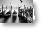 Gondola Photo Greeting Cards - Venice Gondolas II Greeting Card by Nina Papiorek