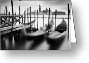 Veneto Greeting Cards - Venice Gondolas Greeting Card by Nina Papiorek