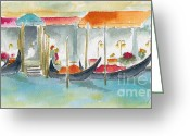 Canals Painting Greeting Cards - Venice Gondolas Greeting Card by Pat Katz
