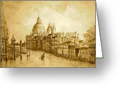 Canal Drawings Greeting Cards - Venice Grand Canal Sepia Greeting Card by Yvonne Ayoub