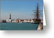 Venetian Architecture Greeting Cards - Venice Harborfront Greeting Card by George Oze