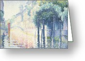 Architecture Tapestries Textiles Greeting Cards - Venice Greeting Card by Henri-Edmond Cross