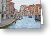 Venice Waterway Greeting Cards - Venice in pastel  Greeting Card by Heiko Koehrer-Wagner