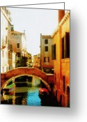 Cityscape Digital Art Greeting Cards - Venice Italy Canal with Boats and Laundry Greeting Card by Michelle Calkins
