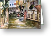Italy Drawings Greeting Cards - Venice Italy Greeting Card by Mindy Newman