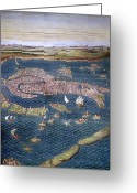 Birds Eye View Greeting Cards - Venice: Map, 16th Century Greeting Card by Granger