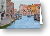 Gondola Digital Art Greeting Cards - Venice pastel-colored Greeting Card by Heiko Koehrer-Wagner
