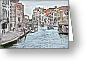 Gondola Digital Art Greeting Cards - Venice picture Greeting Card by Heiko Koehrer-Wagner