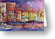 Ginette Fine Art Llc Ginette Callaway Greeting Cards - Venice Reflections Celebrating Italy Painting Greeting Card by Ginette Fine Art LLC Ginette Callaway