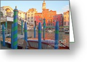 Old Cities Greeting Cards - Venice Rialto Bridge Greeting Card by Heiko Koehrer-Wagner