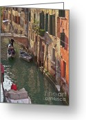 Venice Waterway Greeting Cards - Venice ride with gondola Greeting Card by Heiko Koehrer-Wagner
