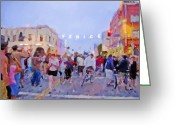 Staley Art Mixed Media Greeting Cards - Venice Sign Lighting Greeting Card by Chuck Staley